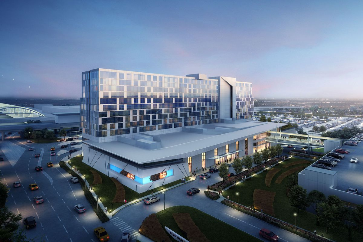 A rendering shows a long, glassy hotel next to the arches of the airport's pickup and drop-off point.