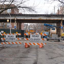 Eastbound Cornelia Street blocked at the Red Line tracks, due to the CTA construction project