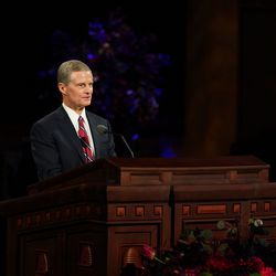 Elder David A. Bednar, a member of the Quorum of the Twelve Apostles, speaks during the Saturday morning session of the 190th Semiannual General Conference of The Church of Jesus Christ of Latter-day Saints on Oct. 3, 2020.