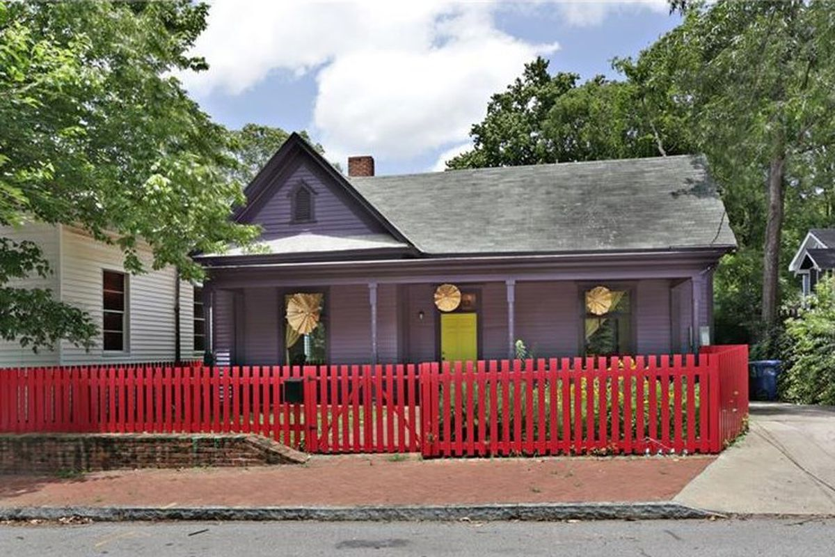 A purple house for sale in the Cabbagetown neighborhood of Atlanta.