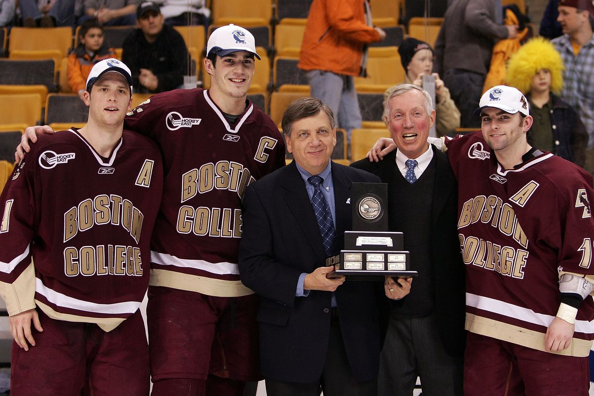 Joe Bertagna presented the 2007 Hockey East champion Boston College Eagles with their trophy.