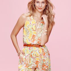 'Happy Place' romper, $34; starfish cuff in gold, $20, bangle bracelet in gold, $20 each (online only)