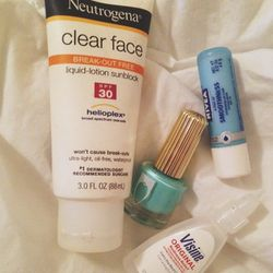 My shoot day essentials: LOTS of water, <b>Nivea</b> SPF Lip Balm, <b>Neutrogena</b> Face Sunscreen, a bottle of 'Wet' for on-set touch ups and <b>Visine</b> for tired eyes (plus a wet swab of the stuff can help reduce the redness of blemishes!).