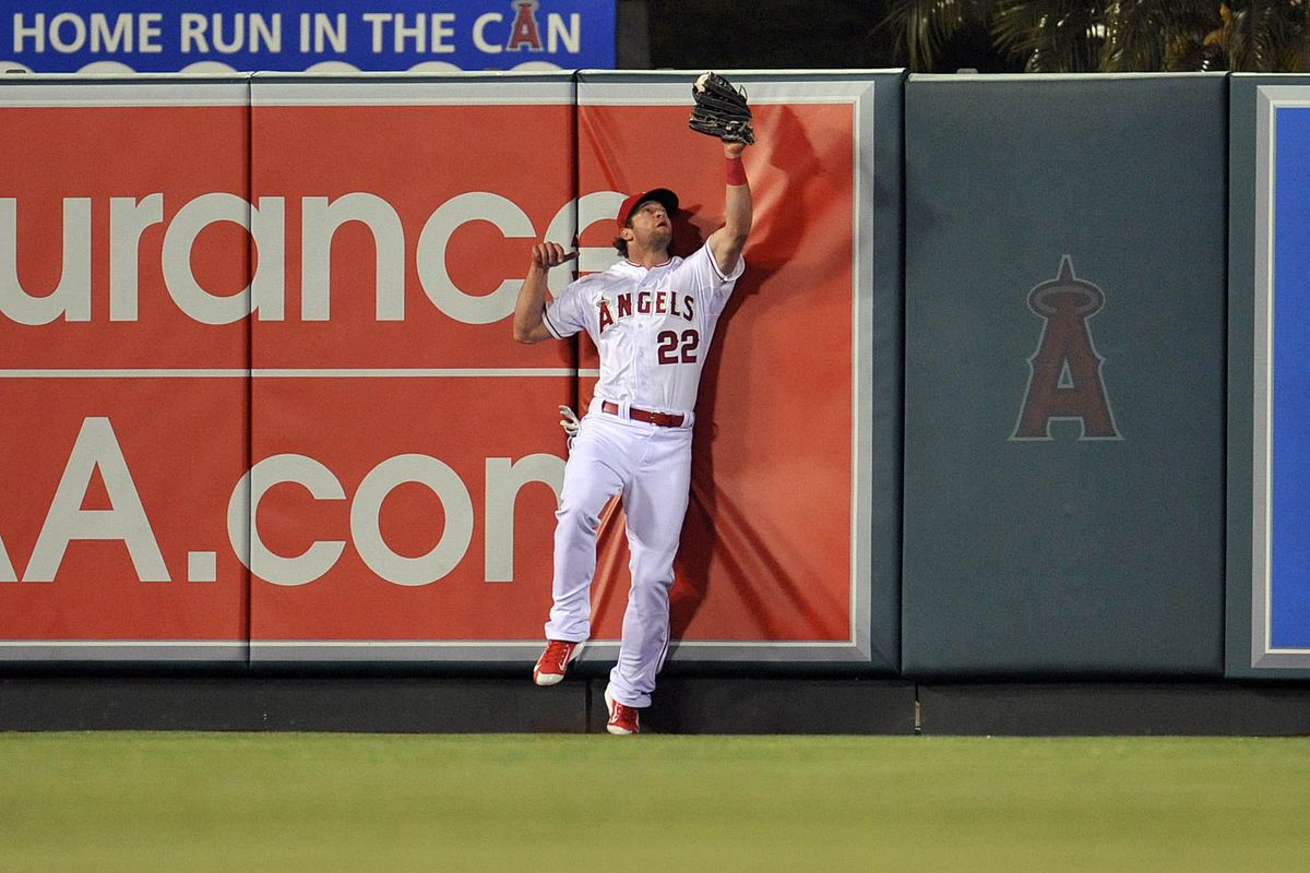 """Kirk Nieuwenhuis--also known as """"He Who Cannot Be Spelled""""--has been one of six men the Angels have used in left field this season."""