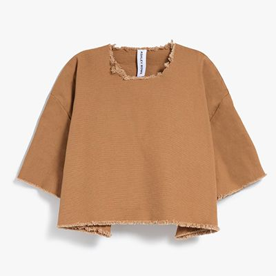 Brown denim cropped t-shirt
