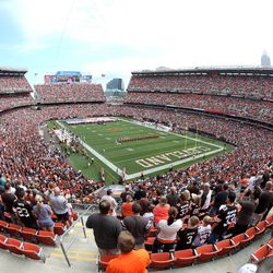 Sep 8, 2013; Cleveland, OH, USA; The national anthem is played before Cleveland Browns game against the Miami Dolphins at FirstEnergy Field.