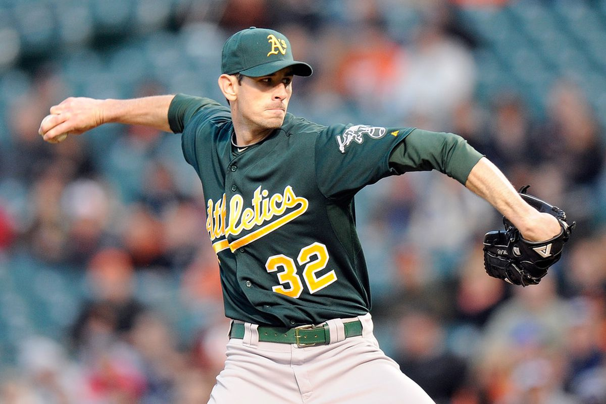 BALTIMORE, MD - APRIL 27:  Brandon McCarthy #32 of the Oakland Athletics pitches against the Baltimore Orioles at Oriole Park at Camden Yards on April 27, 2012 in Baltimore, Maryland.  (Photo by Greg Fiume/Getty Images)