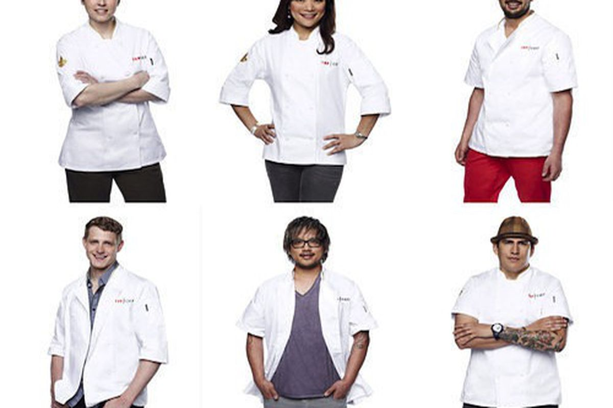Clockwise, from top left: Carrie Mashaney, Shirley Chung, Louis Maldonado, Ramon Bojorquez, Brian Huskey, Travis Masar