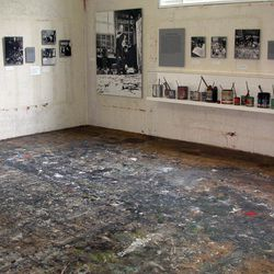 In this April 29, 2010 photo provided by the Pollock-Krasner House and Study Center, the interior of Jackson Pollock's studio is shown in East Hampton, N.Y.  Pollock, who would have turned 100 in 2012, will have the anniversary of his birth observed with exhibitions, fundraisers and other events throughout the year.