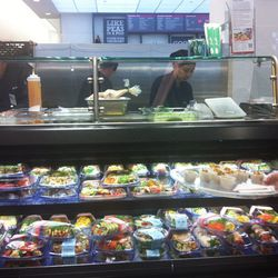 The sushi bar, where a colorful array of sushi dishes are made fresh daily