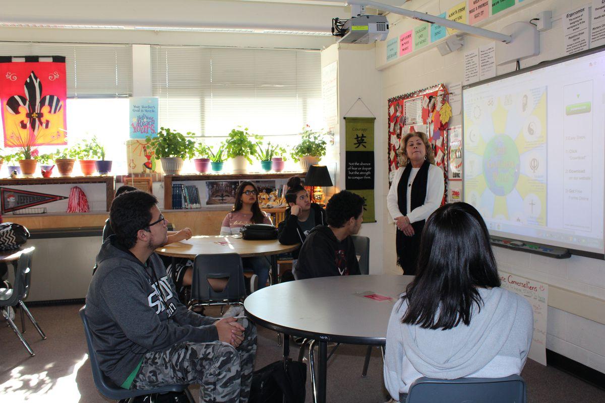 A teacher leads a class called community living at Jefferson Junior-Senior High School in Jeffco Public Schools.