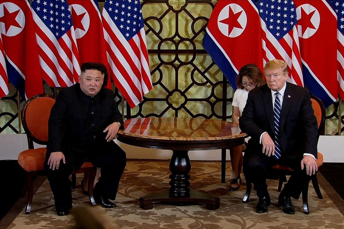 President Donald Trump and North Korean leader Kim Jong-un during their second summit meeting on February 28, 2019 in Hanoi, Vietnam.