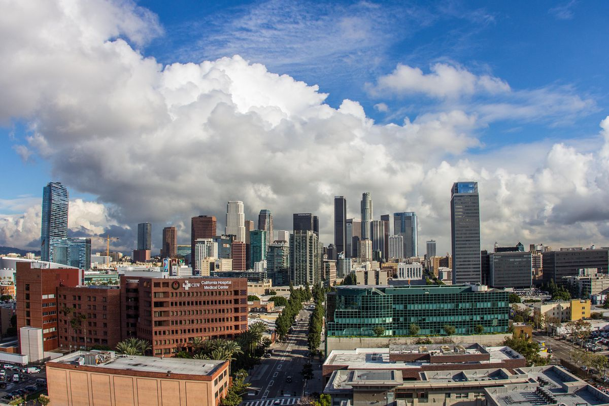 A photo of Downtown Los Angeles in the daytime, as seen from the south.
