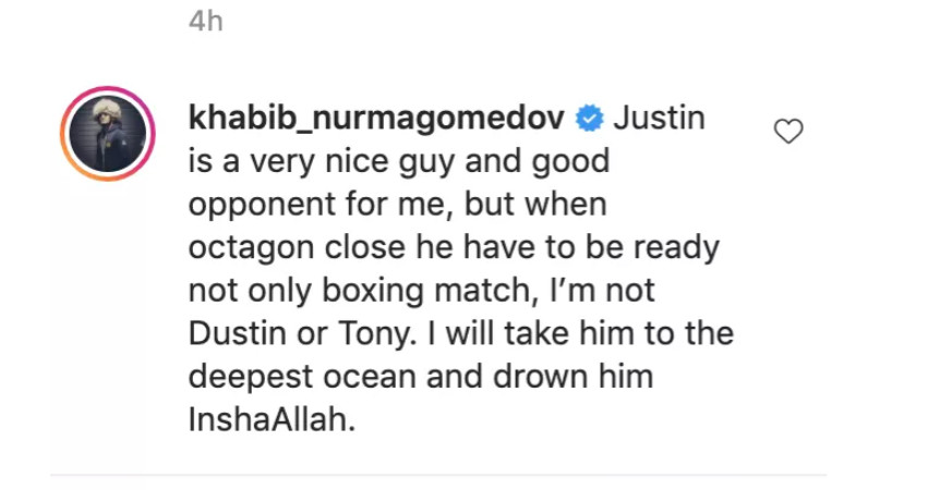 Khabib promises to take Justin Gaethje to the 'deepest ocean and drown him'  at UFC 254 - Bloody Elbow