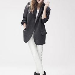 Coat ($199), Long Sleeve T-Shirt ($39.95), Leather Pants ($299), Boots ($299)