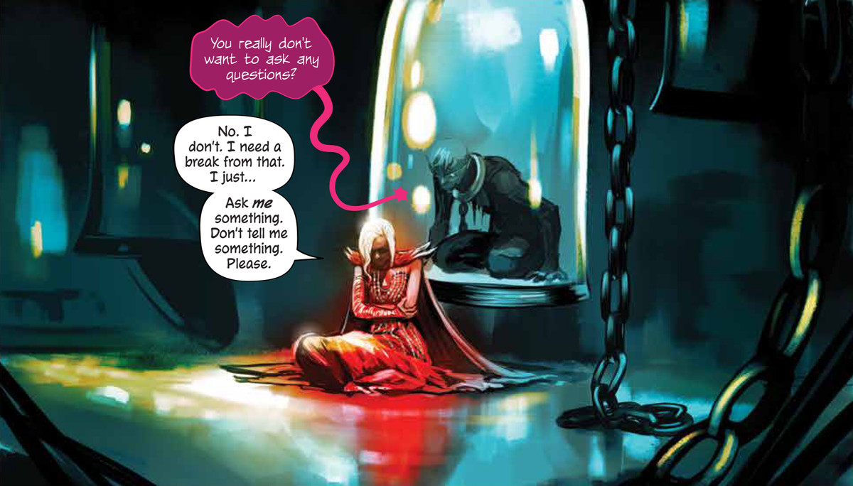Struggling with the strain of leadership and his decisions, Ash (in the red dress) seeks comfort from the undead Sol, in Die #11, Image Comics (2020).