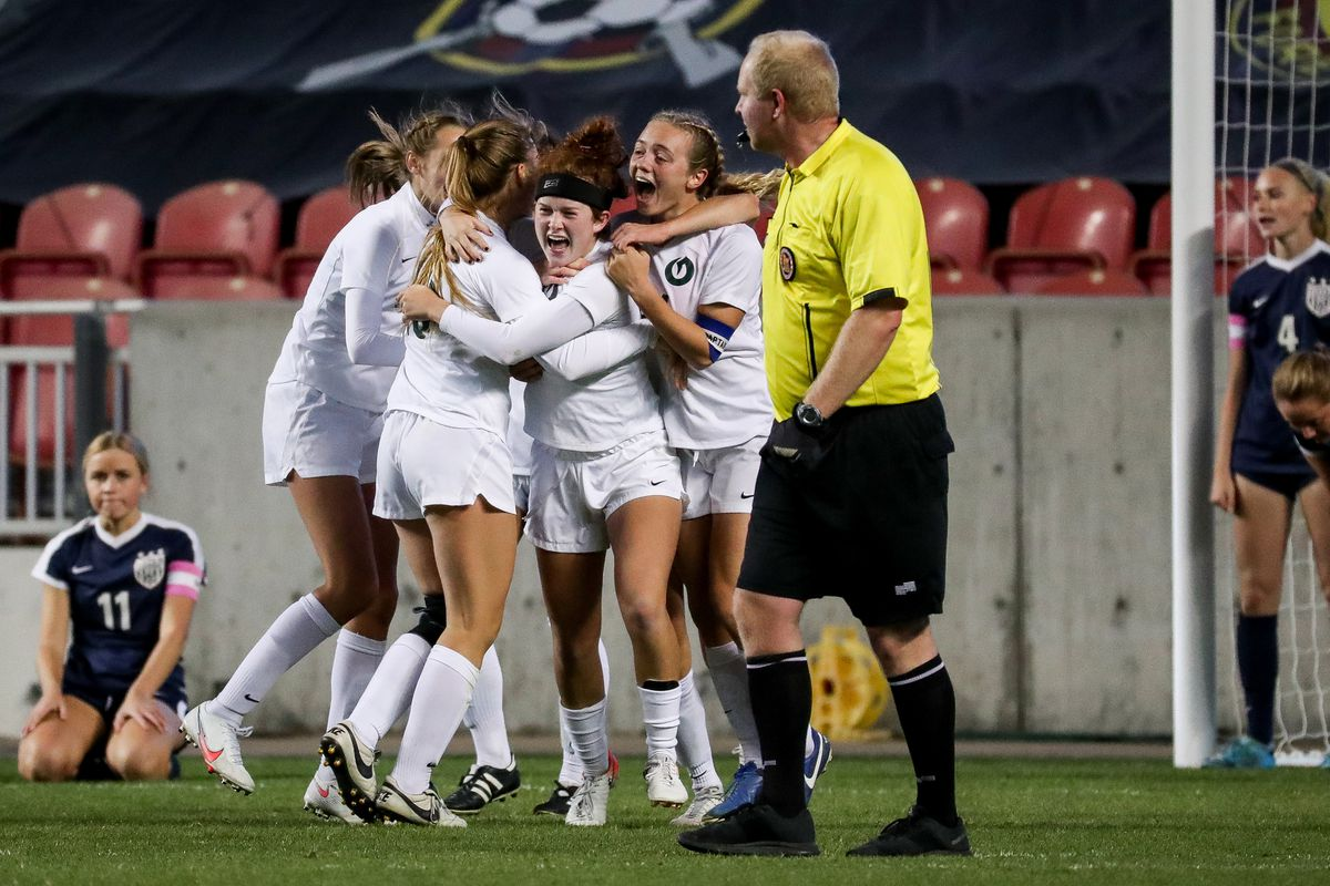 Olympus celebrates after scoring in extra time to beat Bonneville in the 5A girls soccer state championship at Rio Tinto Stadium in Sandy on Friday, Oct. 23, 2020.