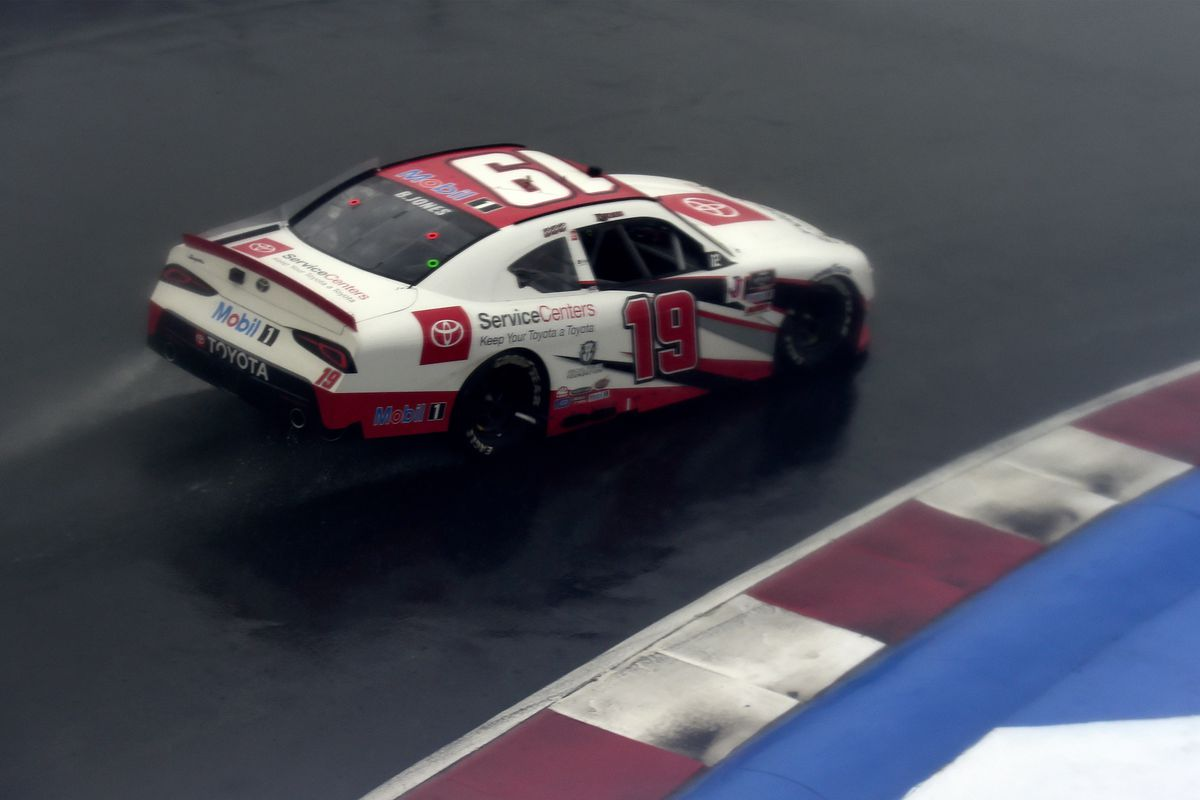 Brandon Jones, driver of the Toyota Service Centers Toyota, drives in the rain during the NASCAR Xfinity Series Drive for the Cure 250 presented by Blue Cross Blue Shield of North Carolina at Charlotte Motor Speedway on October 10, 2020 in Concord, North Carolina.
