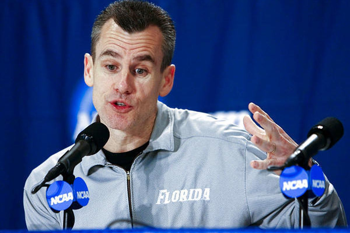 Florida head coach Billy Donovan talks at a press conference prior to their practice time in Oklahoma City for the first round of the NCAA tournament.