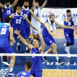 BYU players celebrate after winning the second set as they and Pepperdine play in the finals of the Mountain Pacific Sports Federation Championship, at the Smith Field House in Provo on Saturday, April 24, 2021. BYU won in straight sets.