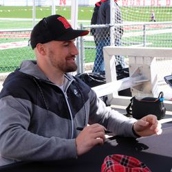 Rex Burkhead signing autographs at the 2019 Nebraska spring game.