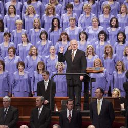 Members of the Tabernacle Choir join with the audience to sing during the morning session of 183 annual General Conference of the Church of Jesus Christ of Latter Day Saints Saturday, April 6, 2013 inside the Conference Center.