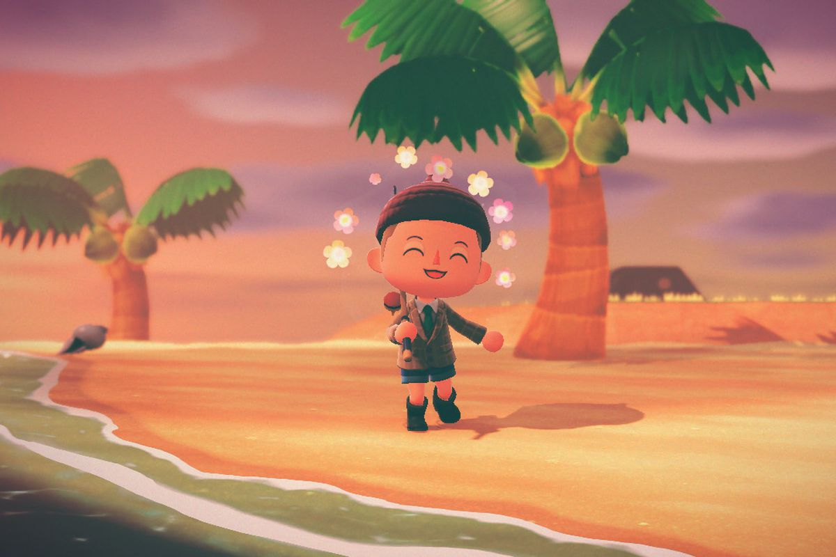 A villager carrying a fishing rod smiles on the beach in a screenshot from Animal Crossing: New Horizons