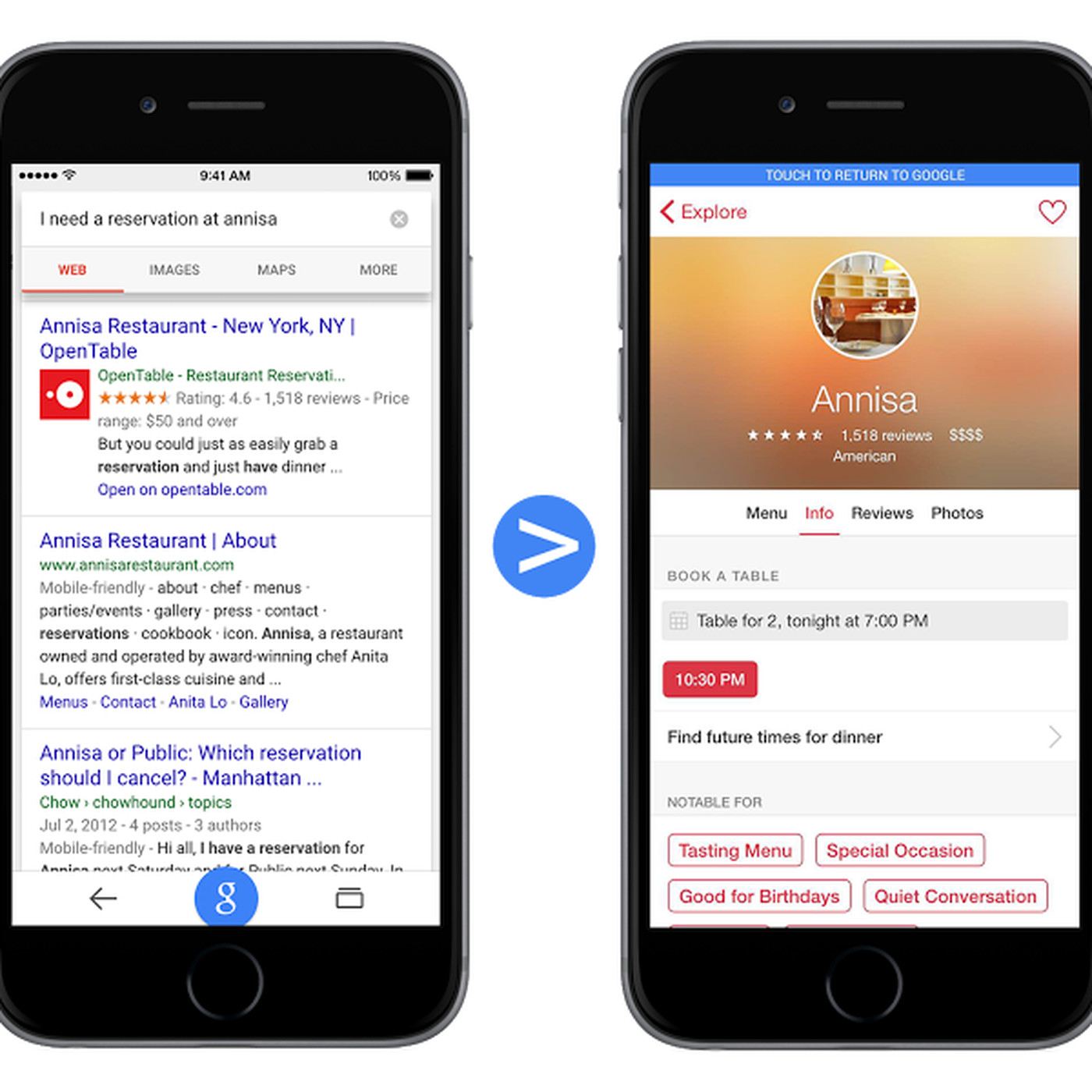 Google Will Soon Link Directly To IOS Apps In Mobile Search The Verge - Google open table