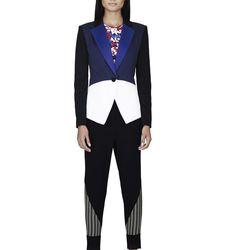 Blazer in Blue/Black/White Colorblock, $49.99; Shirt in Red Floral Print, $19.99; Pant in Black/Check Print, $34.99; Slip-On Shoe in Black/White Print, $29.99