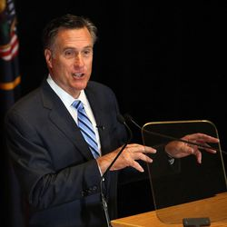 Former Gov. of Mass. Mitt Romney addresses the Hinckley Institute of Politics regarding the 2016 presidential race at the University of Utah in Salt Lake City on Thursday, March 3, 2016. Romney has made it clear he won't vote for either Trump or Clinton in November and has said he's taking a look at the Libertarian Party ticket headed by former New Mexico Gov. Gary Johnson.
