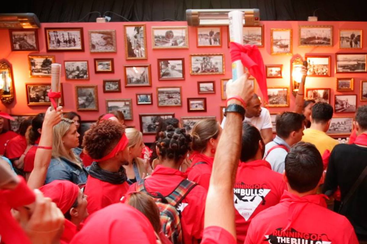 Running of the bulls party at 100 Montaditos