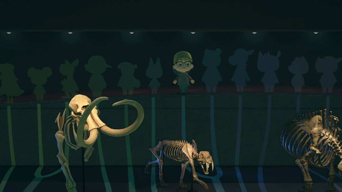 The sabertooth tiger and the mammoth in the museum of Animal Crossing New Horizons