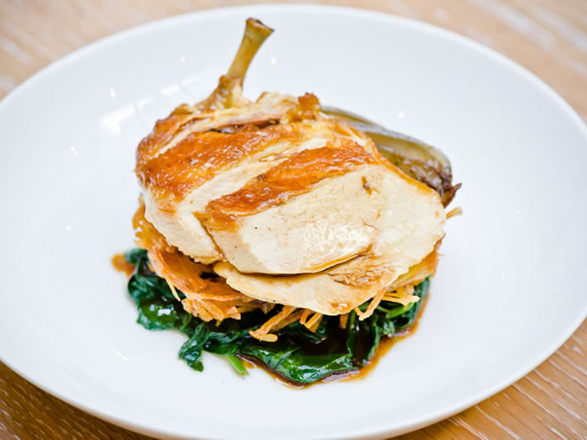 Chicken breast, rosti and chard at Light House restaurant in Wimbledon, London