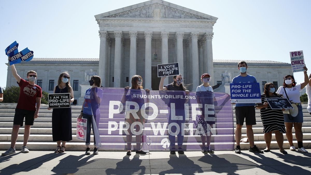 Anti-abortion protesters gather outside the Supreme Court building in Washington, D.C.