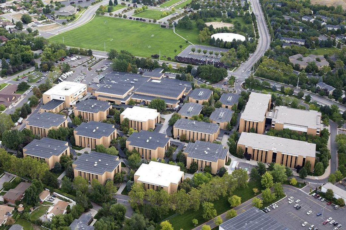 FILE - A photo taken in 2013 shows part of Brigham Young University Campus and the Provo  Missionary Training Center.