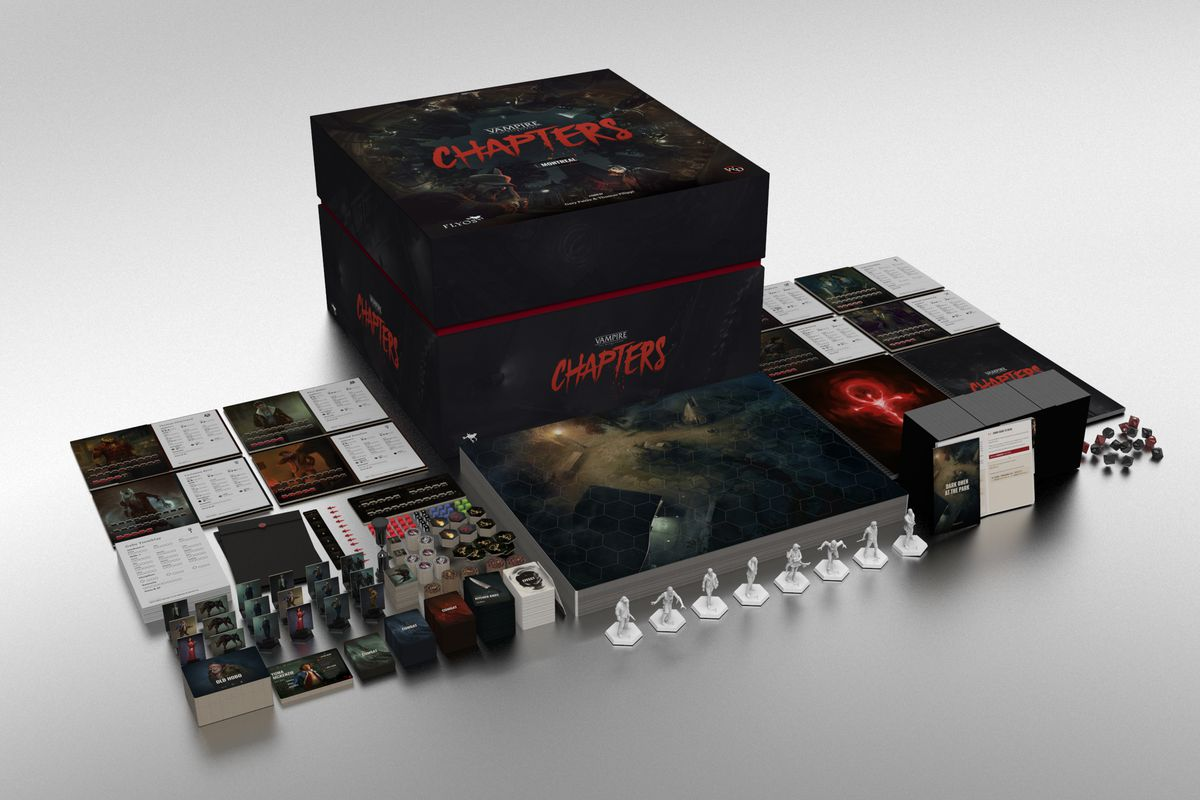 A render of the final game components for the base game of Vampire: The Masquerade - Chapters.