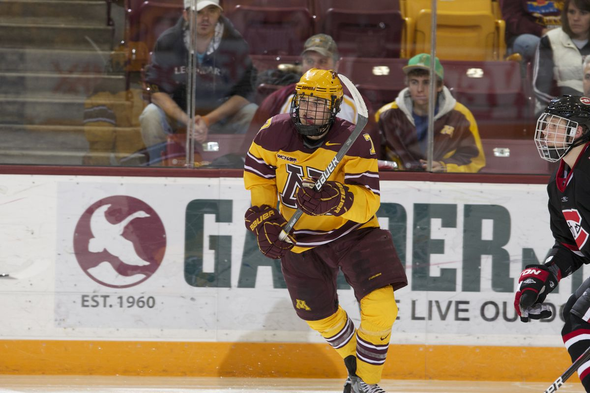 Gopher co-captain Kyle Rau scored an assist and was in the middle of a physical exhibition game