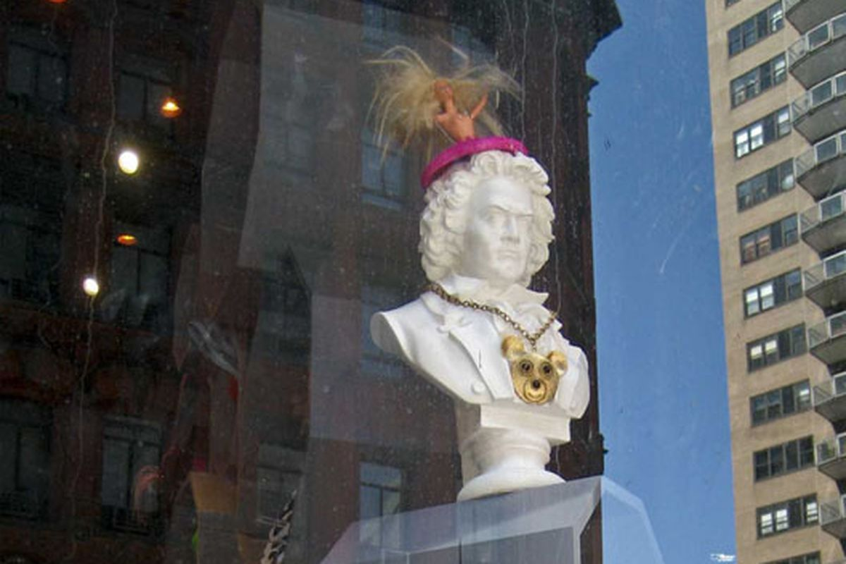 """Beethoven and Barbie in the window of David Barton Gym at Astor Place.  Image via <a href=""""http://www.flickr.com/photos/kstrahmx/3720456104/in/pool-rackedny"""">kstrahmx</a>/Racked Flickr Pool"""