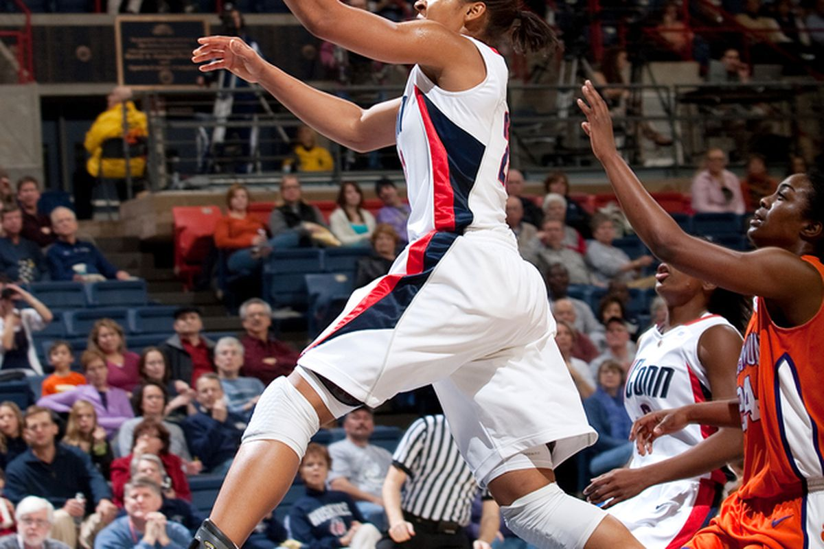 Maya Moore Soars Through the Air for Two (Photo courtesy of UConn)