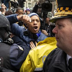 Kim Foxx supporters faced off with FOP members and supporters. | Ashlee Rezin/Sun-Times