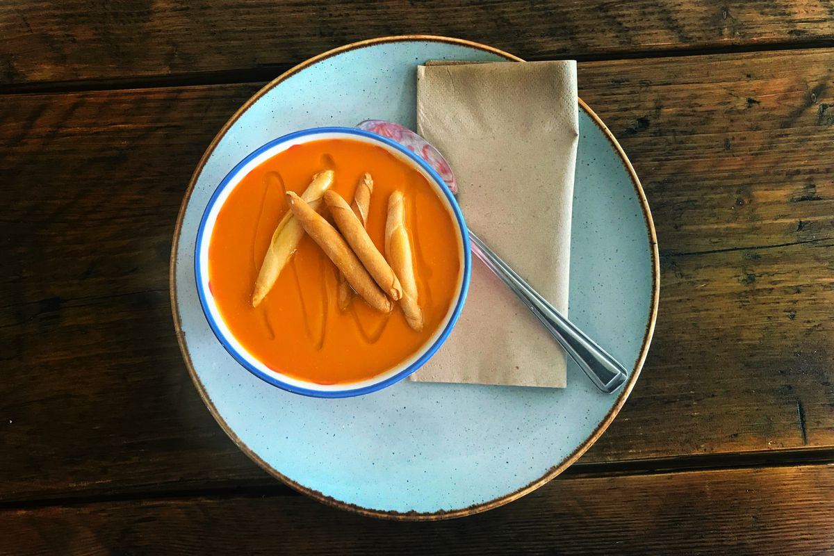 London's heatwave coping mechanisms demand cold soup, like this gazpacho at Reineta in Ealing