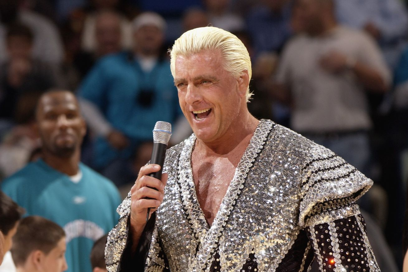 Ric Flair ignites the crowd prior to game