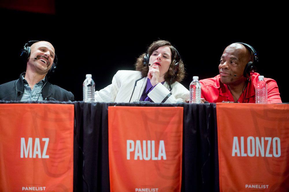 Maz Jobrani, Paula Poundstone, and Alonzo Bodden sitting on the 'Wait Wait' panel