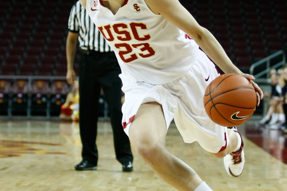 """USC guard Jacki Gemelos is quietly making a difference for USC in ways that don't necessarily show up in the box score. Photo by <a href=""""http://www.photoshelter.com/c/112575"""" target=""""new"""">Craig Bennett/112575 Media</a>."""