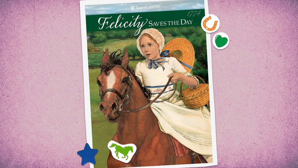 American Girl book cover for Felicity Saves the Day featuring an illustration of a girl on a horse