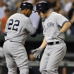 New York Yankees' Steve Pearce, right, celebrates his two-run home run against the Baltimore Orioles with Andruw Jones, who scored on the play, in the fourth inning of a baseball game Friday, Sept. 7, 2012, in Baltimore.
