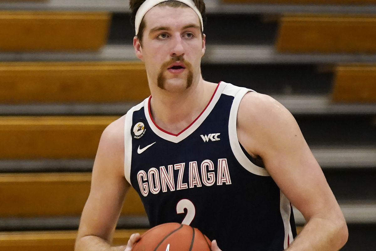 Gonzaga forward Drew Timme looks to pass during the second half of an NCAA college basketball game in Stockton, Calif., Thursday, Feb. 4, 2021.