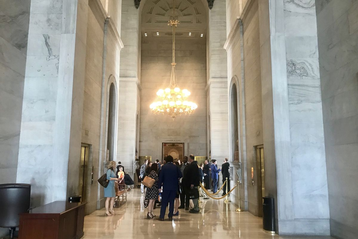 People flanked by tall pillars stand in the Tennessee State Capitol rotunda