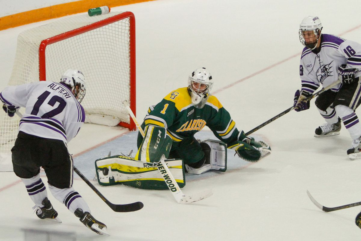 Clarkson goaltender Steve Perry came on in relief to help his team complete the sweep of archrival St. Lawrence.