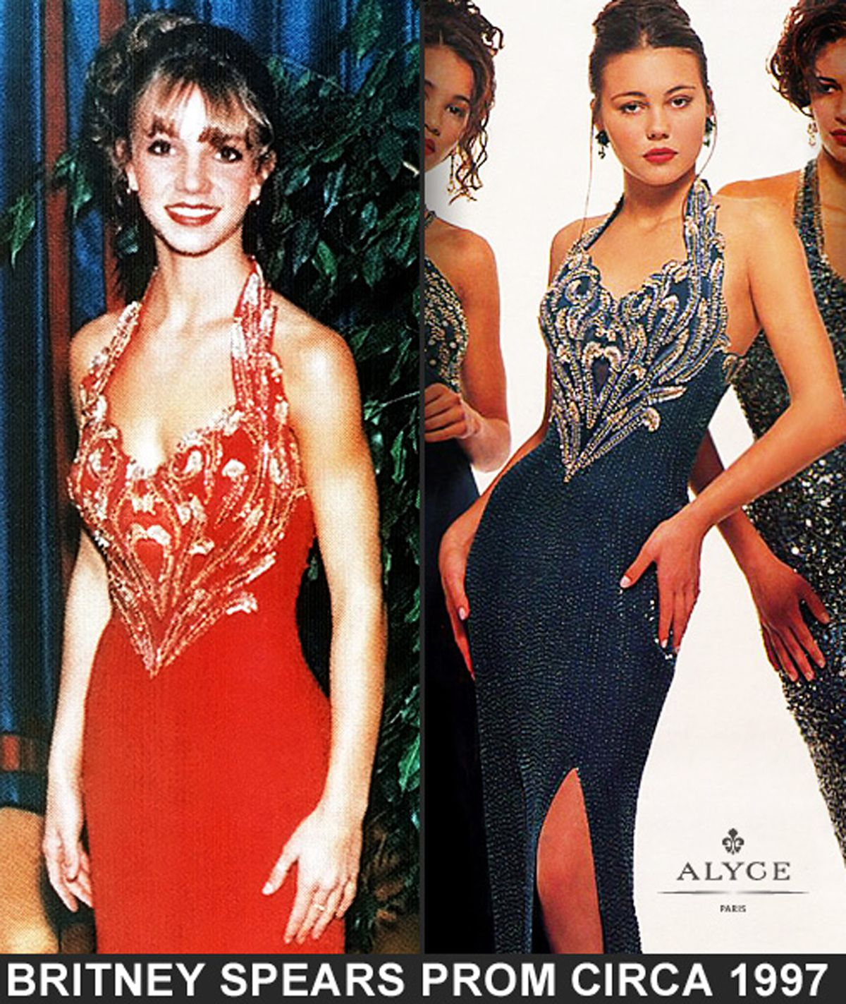 <small><strong> Britney Spears in an Alyce Hamm dress, which is also shown on a fashion model. |  Provided</strong></small>